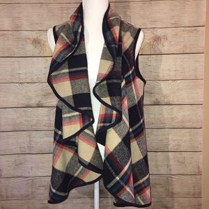 Altar'd State Flannel Plaid Waterfall Vest